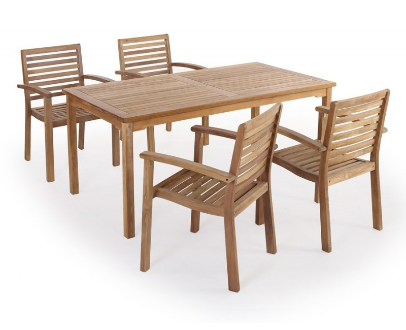 teaktræ havemøbelsæt til 4 personer